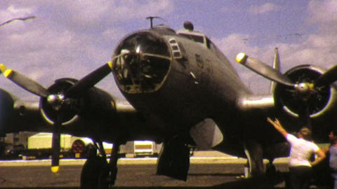 Old Military Aircraft At Airport Close Up 1972 Footage