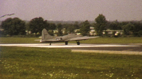 Old Military Aircraft Takes Off 1972 Vintage 8mm stock footage