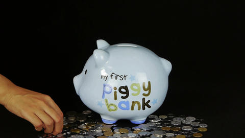 Piggy Bank Coin Drop In Black Space,Piggy Bank Sav stock footage