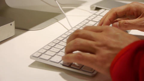 Close Up Typing On Keyboard,Computer Literate Oper stock footage