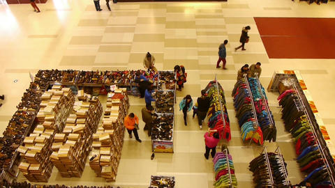 Lookdown People Shopping For Clothes & Shoes In Shopping Mall,china stock footage