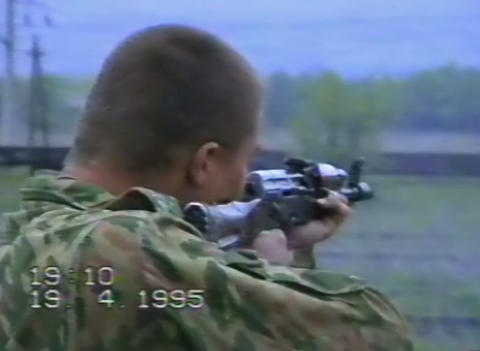 A Soldier Is Firing From The Machine. Grozny, Chec stock footage