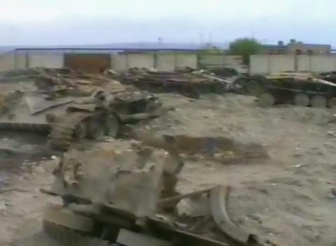 Broken tanks. Grozny, Chechnya in 1995 Live Action