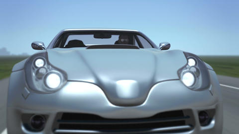 Silver Sports Car Animation