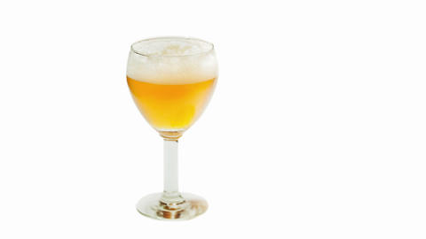 Beer With Foam In The Glass Timelapse Isolated On  stock footage