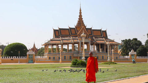 Buddhist Monk In Phnom Penh stock footage