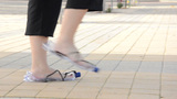 Walking In Plastic Bottle Sandals stock footage