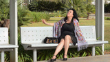 Dramatic Smoking On Bench stock footage