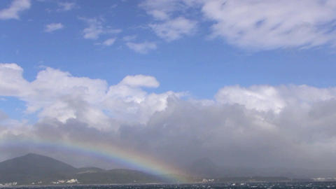 Rainbow Above The Ocean . Kenting National Park stock footage