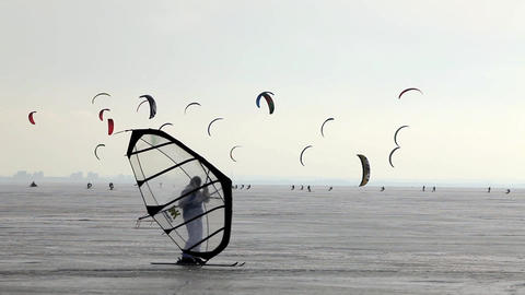 Snowkiting stock footage