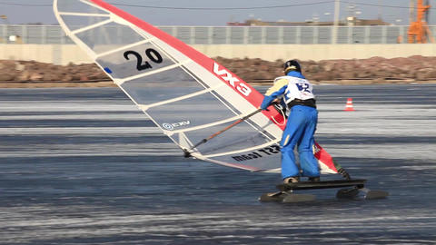 Slalom At Winter Windsurfing stock footage