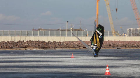 Race Winter Windsurfer stock footage