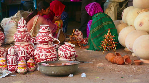 Indian pottery vendors Footage