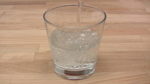 Glass of Sparkling Water Footage