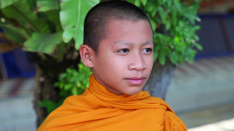 Closeup of boy monk. Phnom Penh. Cambodia Footage