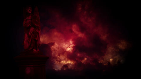 Statues Of Angels In The Red Storm stock footage