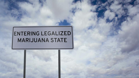 Sign Legalized Marijuana State Clouds Timelapse stock footage