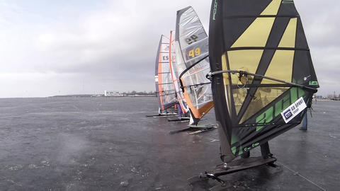Starting Line Of The Race Winter Windsurfing Time  stock footage