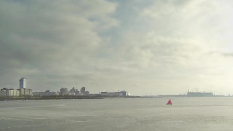 Ice Race Windsurfing stock footage