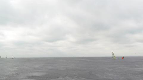 Ice racing windsurfing like moths Footage