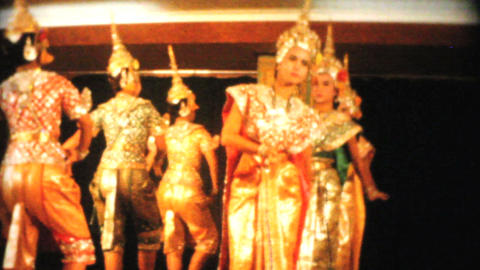 Thai Dancers Perform Traditional Dance 1958 stock footage