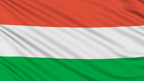 Hungarian flag, with real structure of a fabric Animation