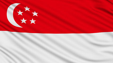 Singapore flag, with real structure of a fabric Animation