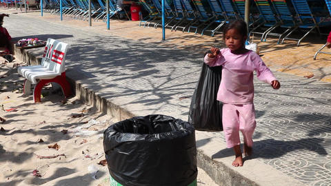 Poverty. Girl Footage