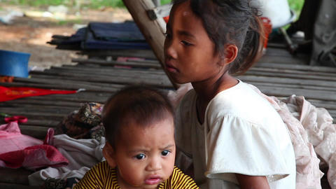Girl and boy. Cambodia Footage