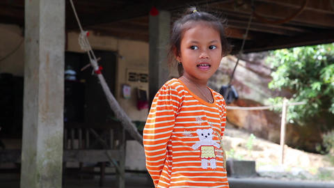 Little girl, Cambodia Footage