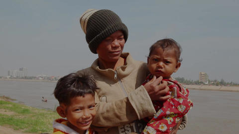 Mother and children. Cambodia Footage
