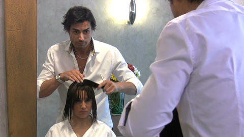 Hairdresser in beauty salon Footage