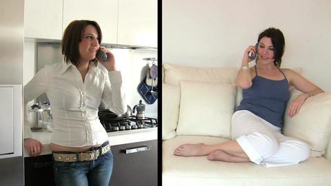 Females Talking on Mobile Phones Footage