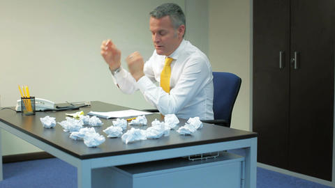 Frustrated Businessman working in Office Live Action