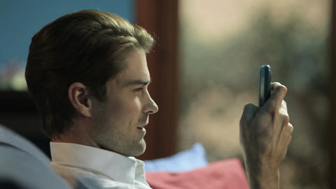 Man Using A Mobile Phone stock footage