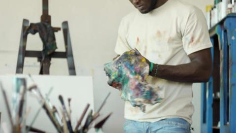Man Painting In Studio Footage