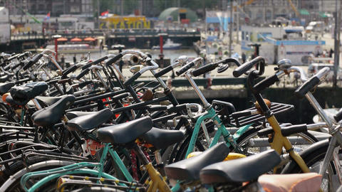Row of Parked Bicycles Footage
