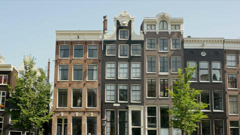 Houses in a Row in Amsterdam, Holland, The Netherlands, Europe Footage