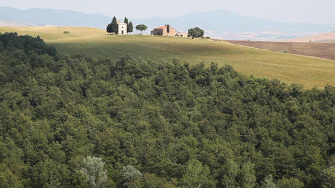 Farmhouses in a Field, Tuscany, Italy Footage