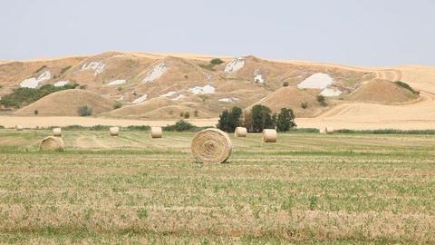 Haystacks in Field, Tuscany, Italy Footage