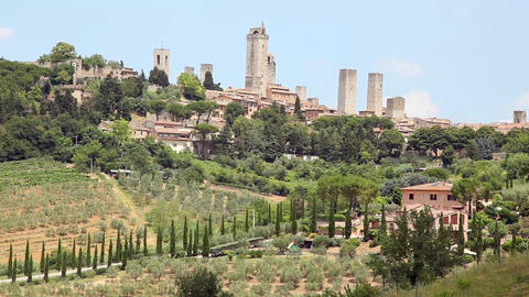 Buildings on a Hill, San Gimignano, Tuscany, Italy Footage