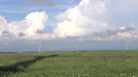 Row Of Wind Turbines Generating Clean Energy In Th stock footage