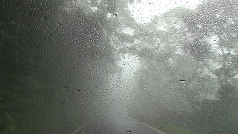 Driving on mountain road in fog and rain Live影片