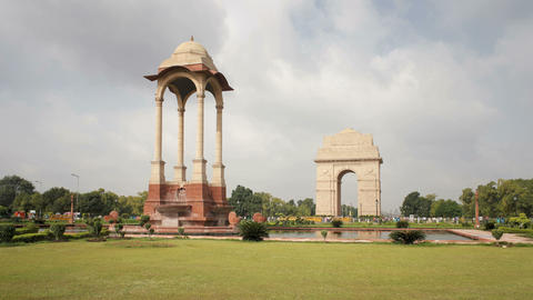 India, Delhi, New Delhi, India Gate, The 42 Metre  stock footage