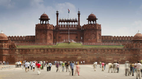 The Lahore Gate, The Red Sandstone Main Gate To Th stock footage