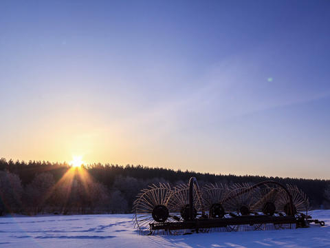 Tractor Rake The Snow At Dawn. Time Lapse. 4x3 stock footage