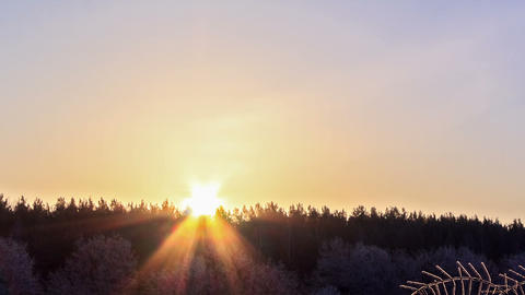 Sunrise over the winter forest. Time Lapse Footage