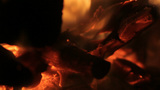 Burning Wood Glowing In Fire stock footage
