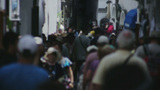 Tourists Walking Through Shopping Street In Amalfi stock footage
