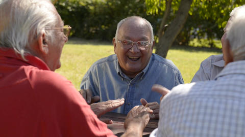 08 Group Of Senior Men Having Fun And Laughing In stock footage